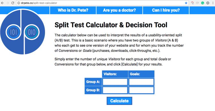 dr pete split testing tool